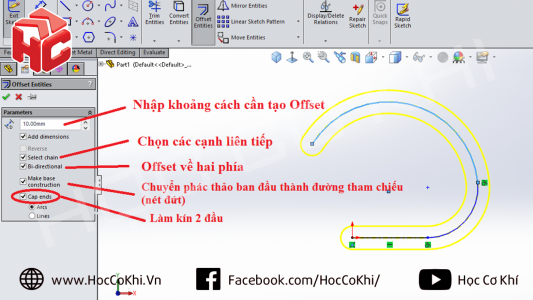 Tạo Slot bằng lệnh Offset trong Solidworks