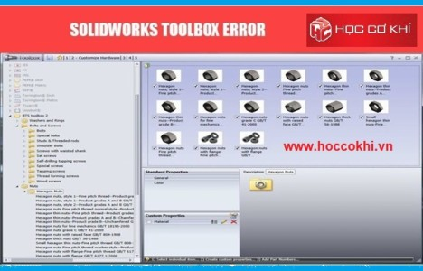 Khắc phục lỗi Toolbox trong Solidworks
