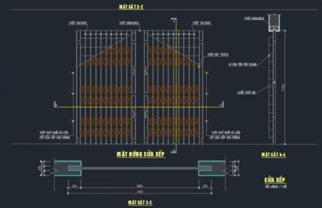 File cad cửa sắt kéo – Cửa xếp của nhà dân dụng
