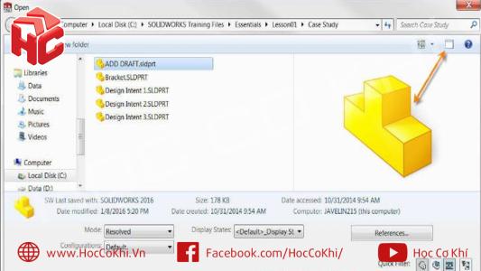 Cách khắc phục lỗi không hiển thị hình thu nhỏ để xem trước trong SolidWorks