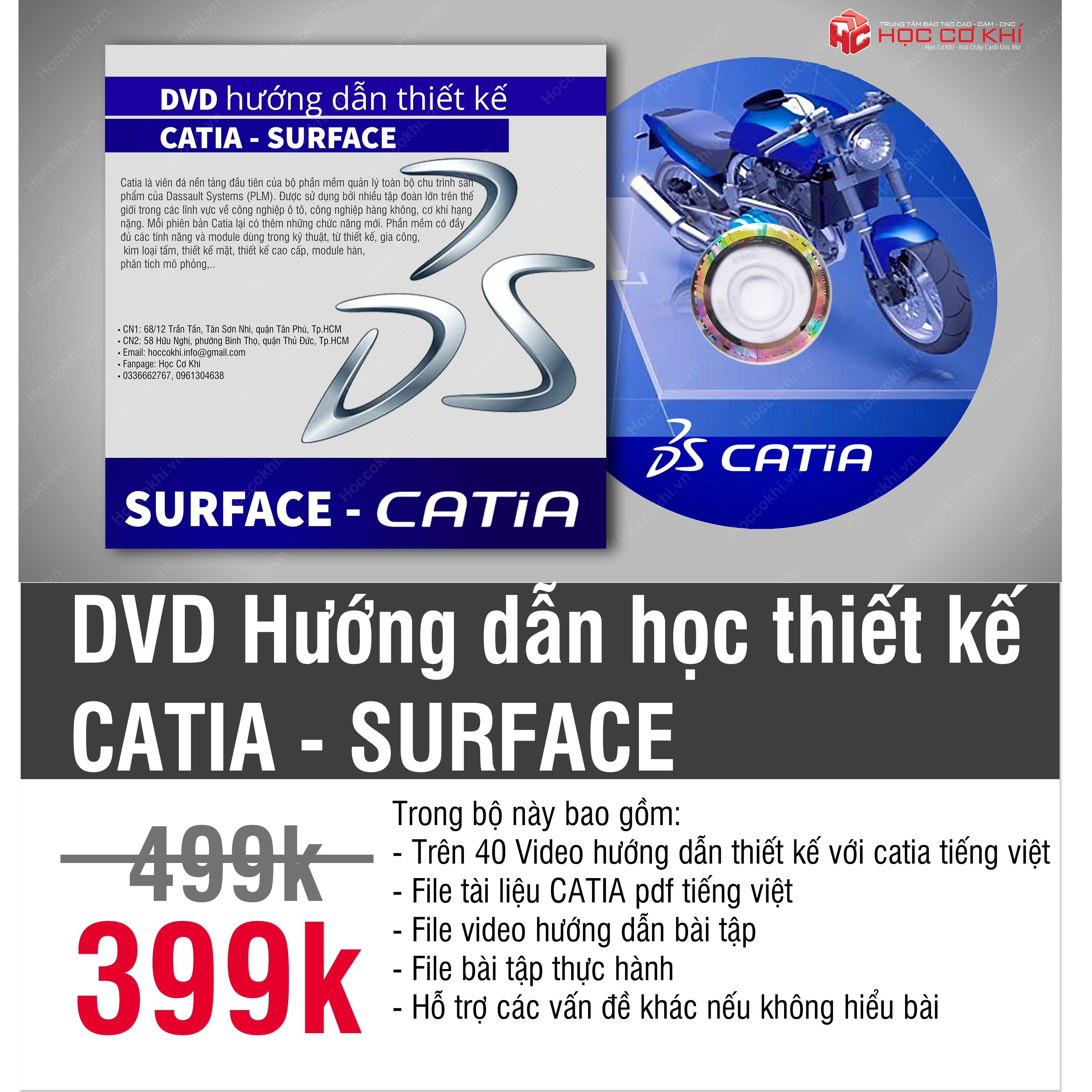 DVD hướng dẫn học thiết kế Catia - SURFACE