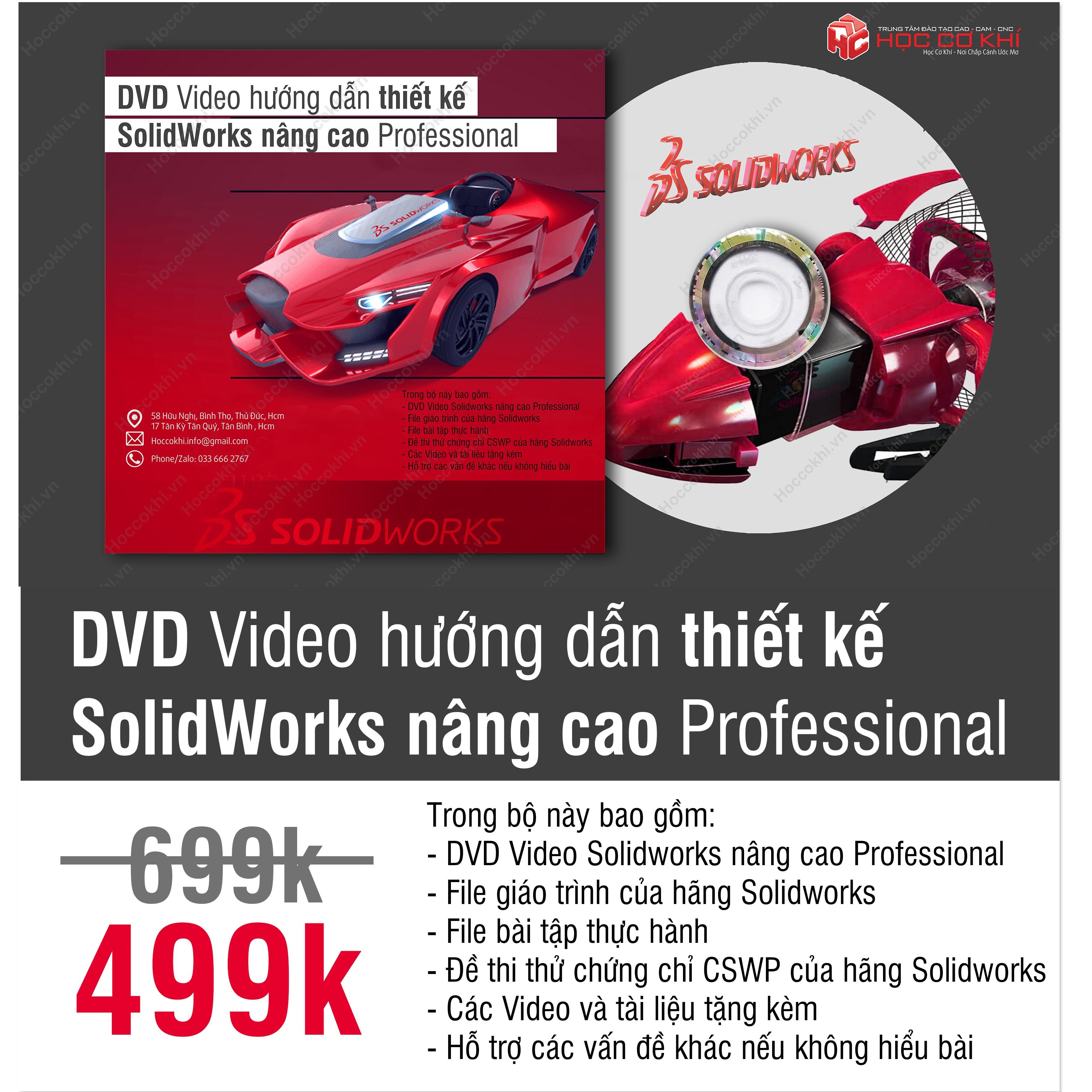 DVD Video hướng dẫn thiết kế SolidWorks nâng cao Professional