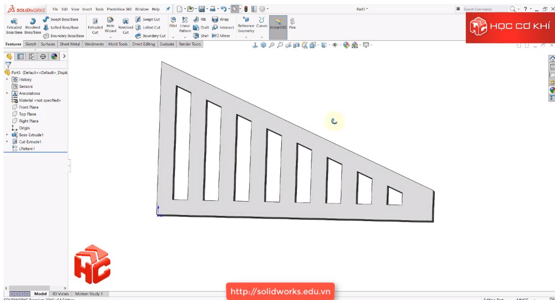 Hướng dẫn dùng Vary sketch trong linear pattern của Solidworks
